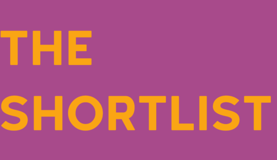 Image is of text reading THE SHORTLIST in bold mustard text on mauve background