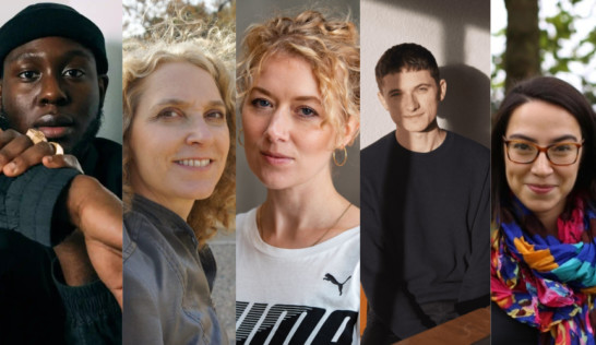 Headshots of the five nominees for the Felix Dennis Prize for First Poetry Collection – Caleb Femi, Alice Hiller, Holly Pester, Ralf Webb and Cynthia Miller